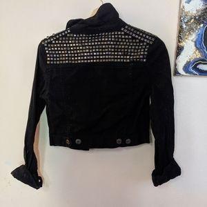 Black Studded Cropped Jacket